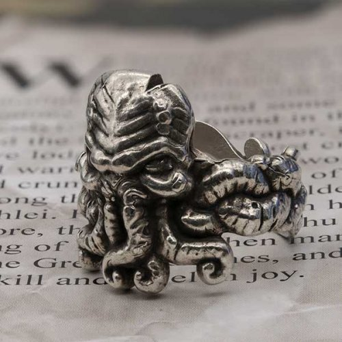Lovecraft Cthulhu ring in sterling silver